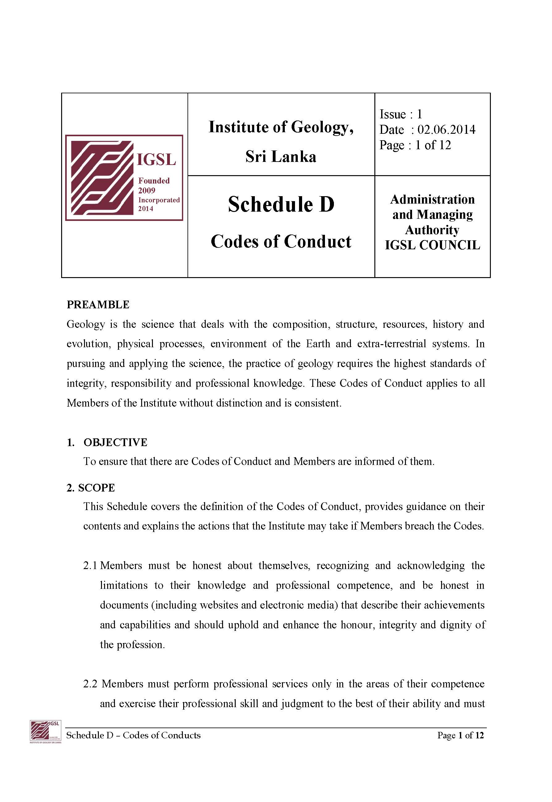 code of conducts–schedule d – institute of geology, sri lanka (igsl)